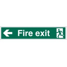 Large Fire Exit Sign Left Arrow