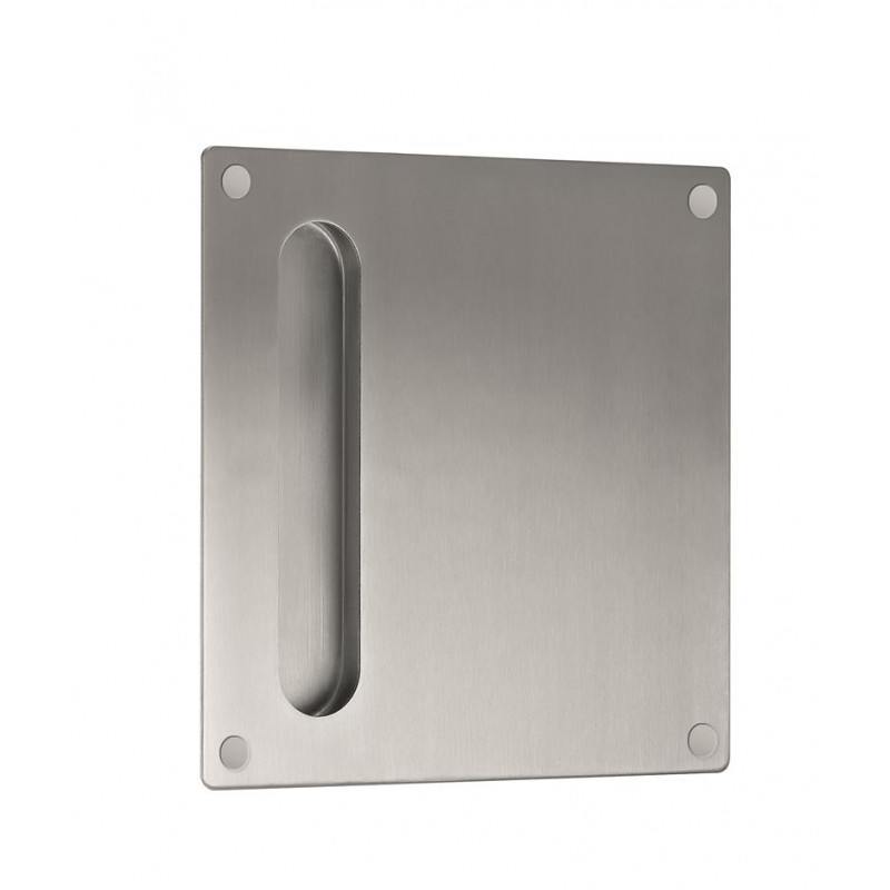 11783 - Stainless Steel Oblong Flush Pull on Square Plate