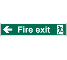 1209 - Large Fire Exit Sign Left Arrow