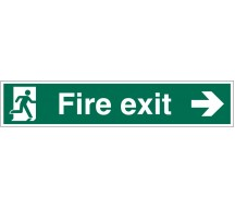 1211 - Large Fire Exit Sign Right Arrow