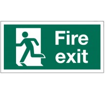 1214 - Small Running Man Fire Exit Sign LH